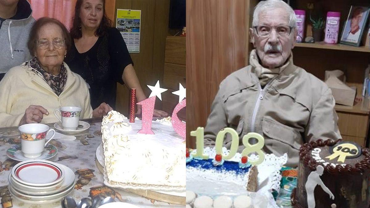 Los abuelos de los 2 siglos: Catalina cumplió 100 años y Cipriano los 108