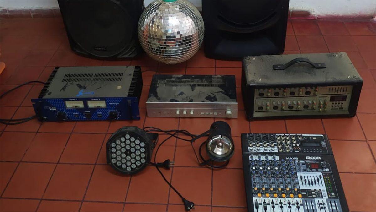 Los elementos secuestrados en Sampacho.