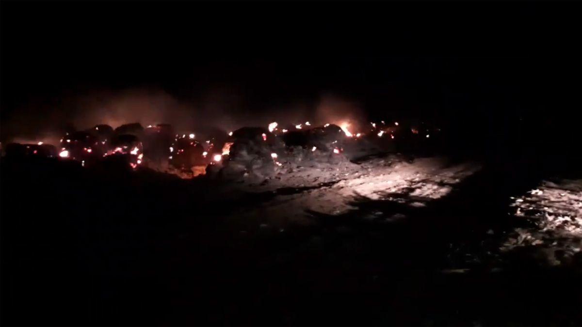 El incendio en la zona de Olaeta afectó el campo del titular de la Rural de Río Cuarto.