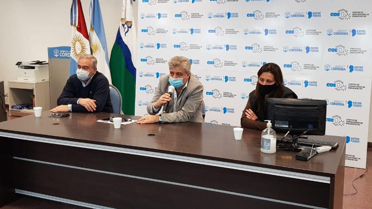 La conferencia de prensa del COE Río Cuarto en el Centro Cívico.