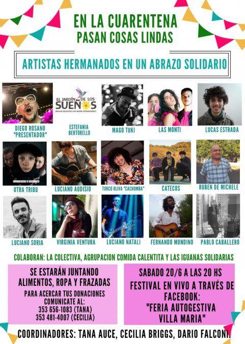 Artistas locales realizarán un show virtual con fines solidarios