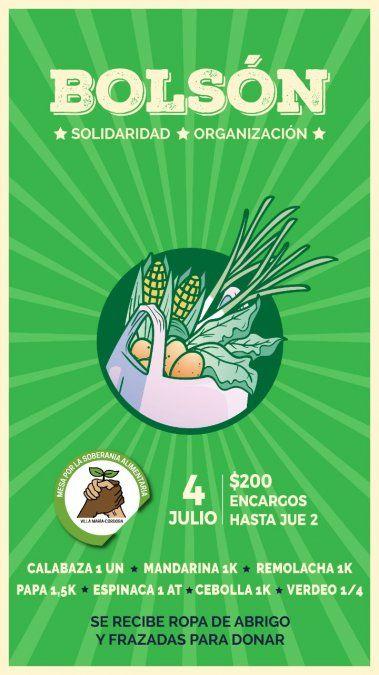 Hasta el jueves se puede encargar el bolsón de frutas y verduras