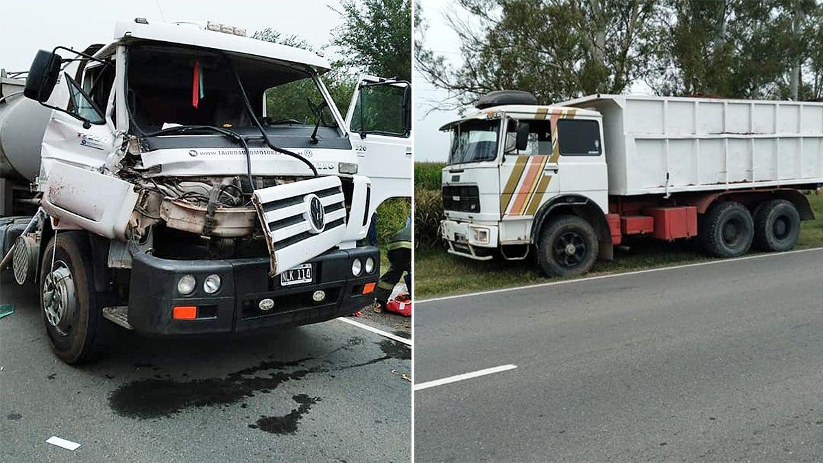 Los camiones colisionaron en ruta provincial Nº 4. (Fotos: gentileza LV20 Laboulaye)