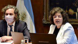 El Jefe de Gabinete, Santiago Cafiero, junto a la flamante Ministro de Salud, Carla Vizzotti, encabezaron esta tarde la reunión virtual del Consejo Federal de Salud (CoFeSa).