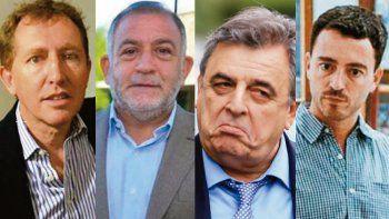 De izquierda a derecha: Dante Rossi, Luis Juez, Mario Negri y Rodrigo de Loredo. Llamativa falta de presencia de dirigentes del sur de Córdoba con expectativas en sus listas.
