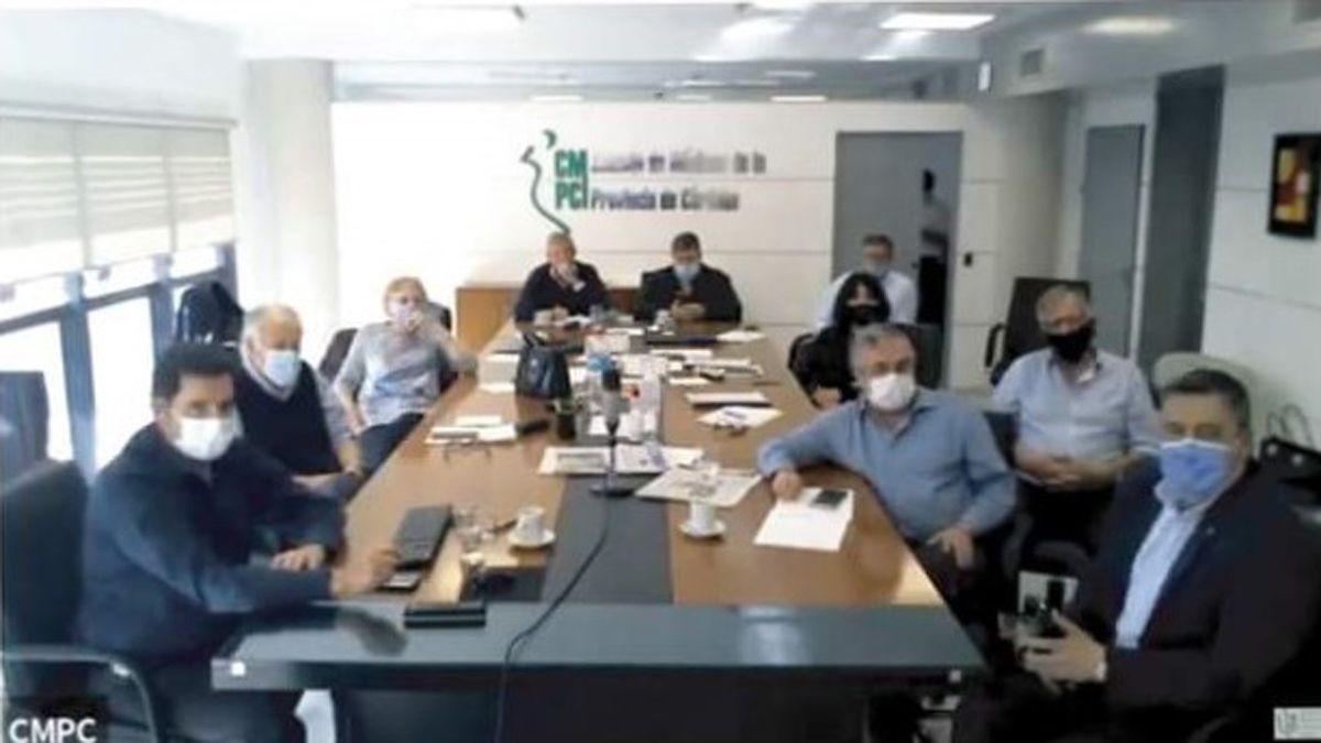 El encuentro entre los profesionales y las autoridades de Salud (vía Zoom).