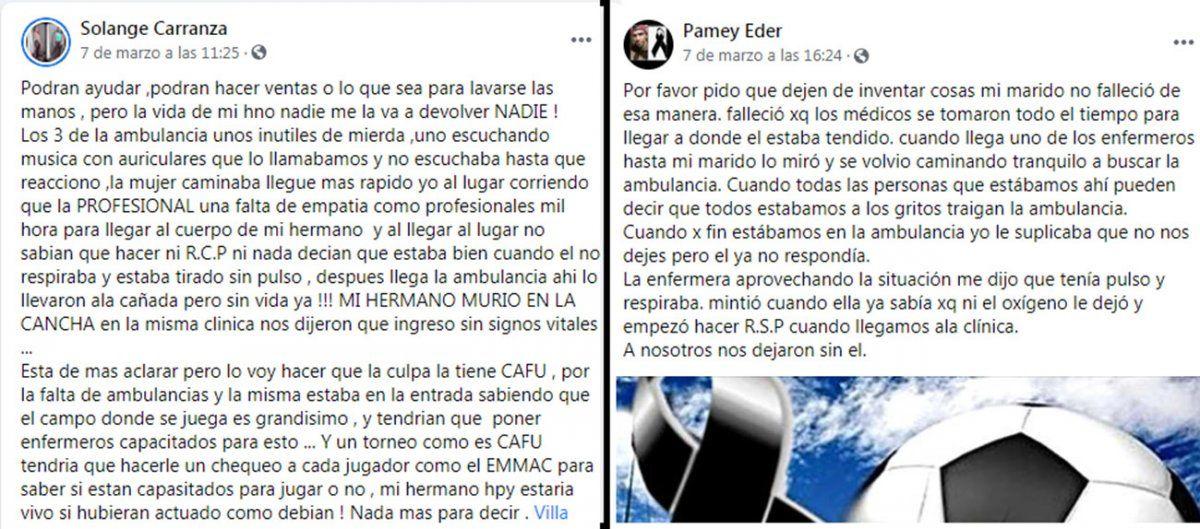 El dolor de la familia de Eder Carranza, el joven que murió jugando al fútbol