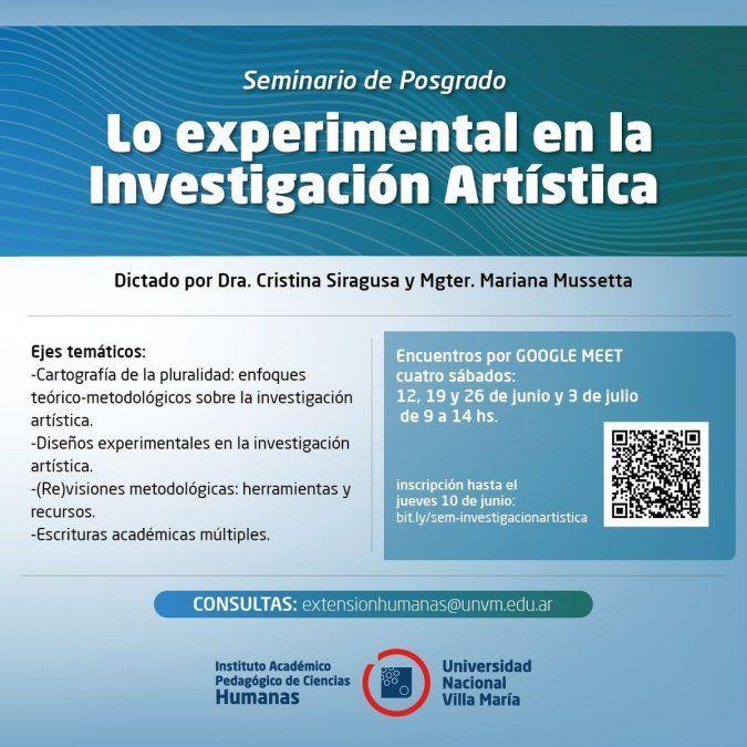 Realizarán un seminario de posgrado sobre Lo Experimental en la Investigación Artística