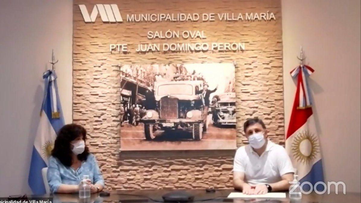 Infectóloga Graciela Ortega (izquierda); intendente interino