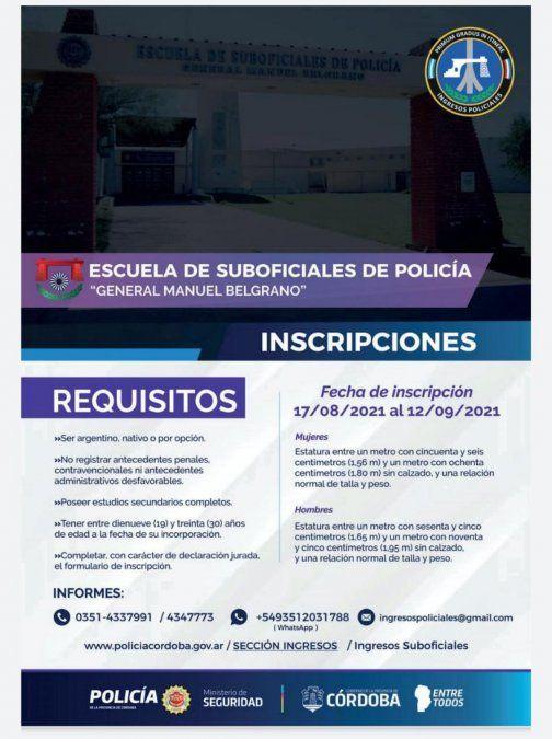 Abre la inscripción para ingresar a la  Escuela de Suboficiales de Policía General Manuel Belgrano