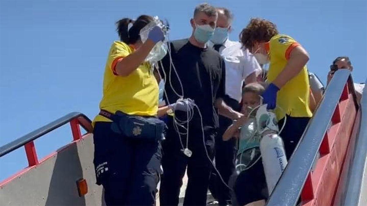Fede arribó a Barcelona esta mañana en un avión sanitario