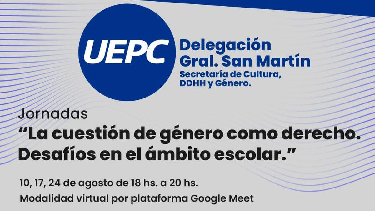 UEPC brindará la capacitación La cuestión de género como derecho. Desafíos en el ámbito escolar
