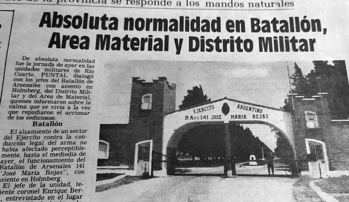 A 30 años del último alzamiento militar: RíoCuarto, una ciudad que se mantuvo en calma