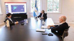 El presidente Alberto Fernandez junto al jefe de gobierno Horacio Rodriguez Larreta y el al gobernador Axel Kicillof analizan el Olivos la continuidad del aislamiento social, preventivo y obligatorio por el coronavirus.