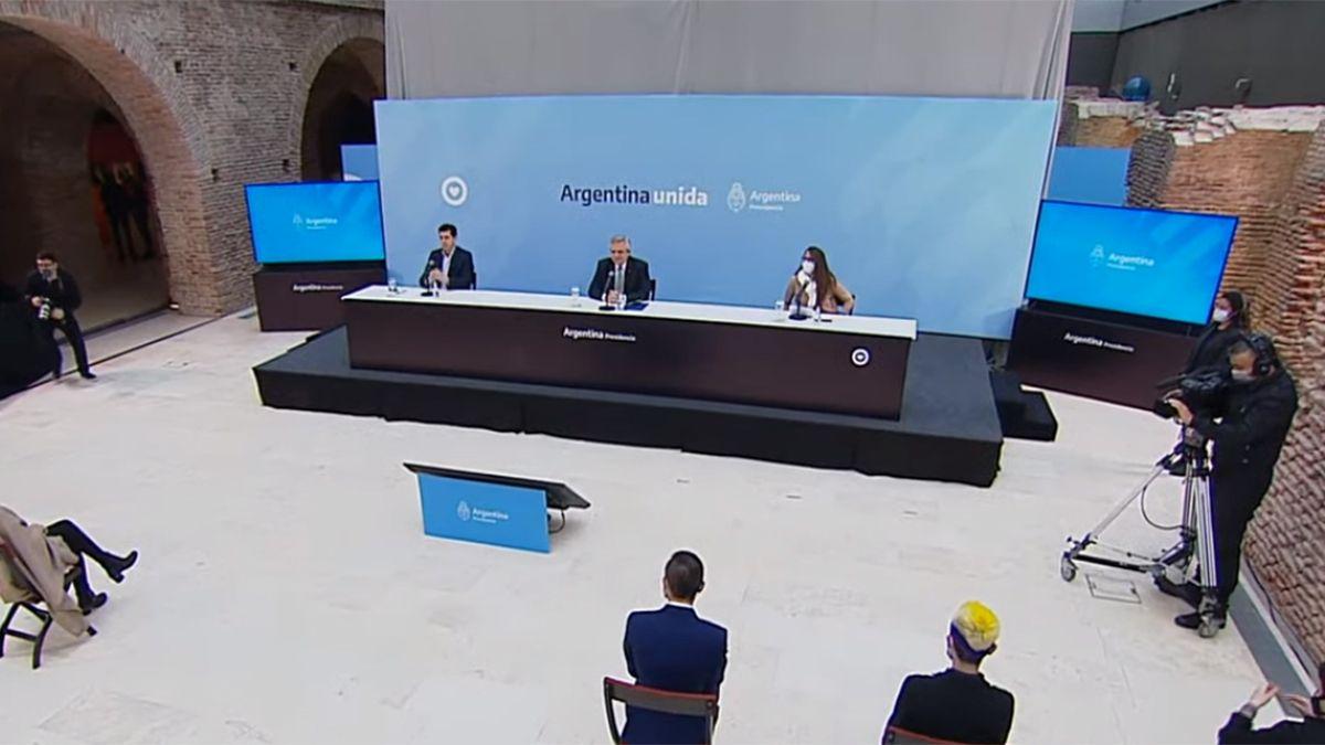 El presidente Alberto Fernández encabezó el acto en la Casa Rosada.