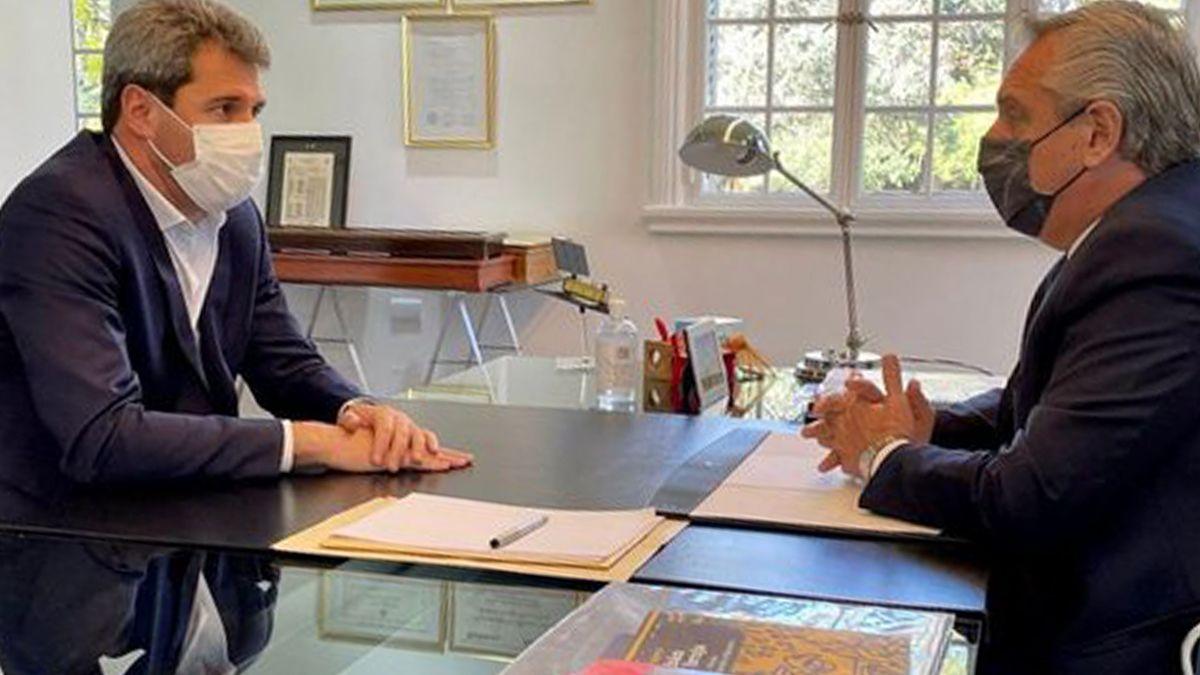 El presidente Alberto Fernández mantuvo esta mañana una reunión en Olivos con el gobernador de San Juan