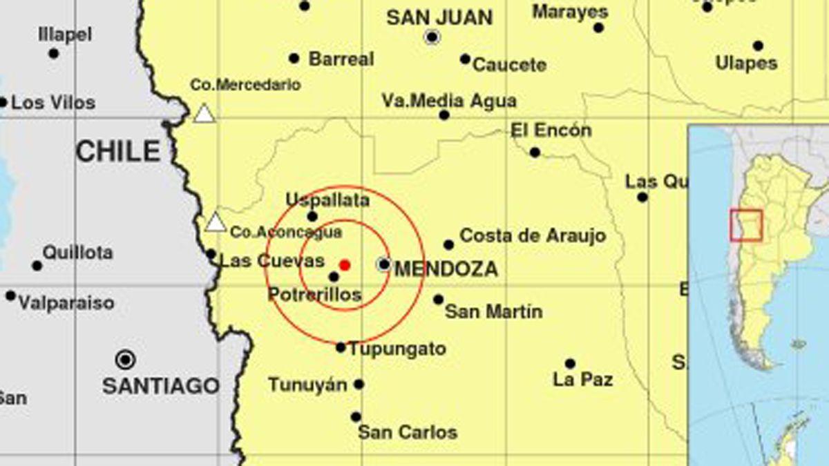 El sismo tuvo epicentro al oeste de la ciudad de Mendoza.