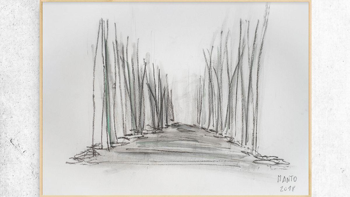 Uno de los bocetos en la búsqueda del concepto arquitectónico según el entorno.