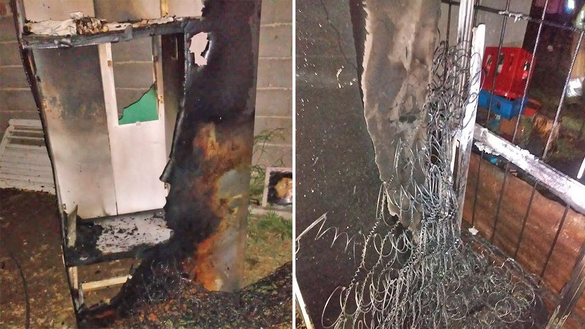 Los mobiliarios afectados por las llamas en el incendio en Las Higueras.