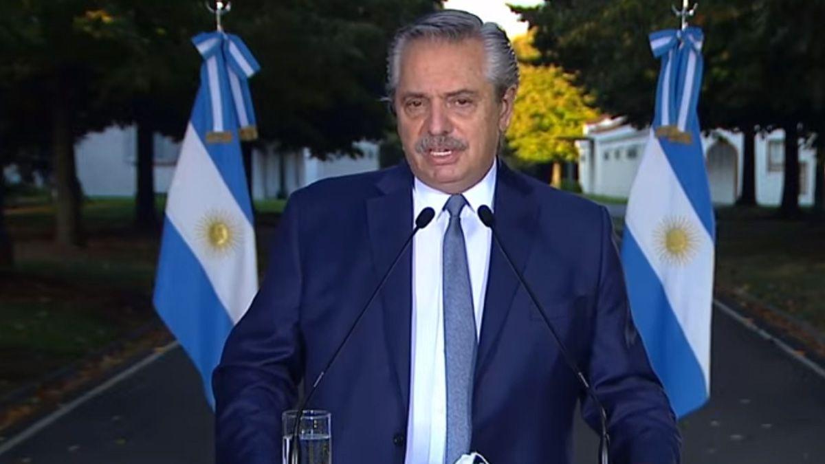 Alberto Fernández emitió el mensaje desde la Quinta de Olivos.