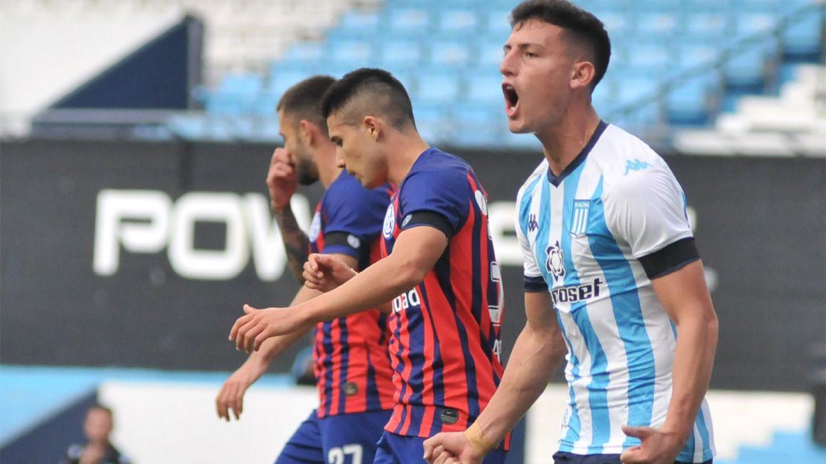 Tomás Chancalay grita uno de los dos goles que marcó ayer para Racing. La Academia derrotó a San Lorenzo por 2 a 0 y se clasificó a cuartos de final de la Copa de la Liga.