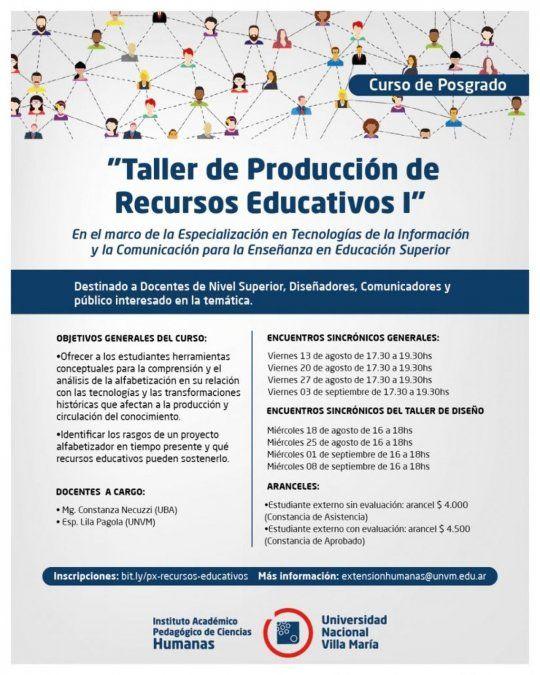 Dictarán el curso Taller de Producción de Recursos Educativos I