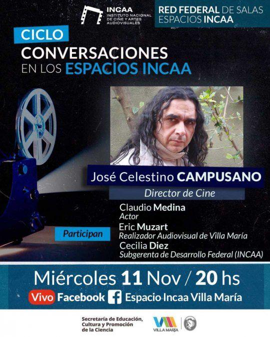 Desde las 20, continúa el Ciclo de Conversaciones en Espacios INCAA