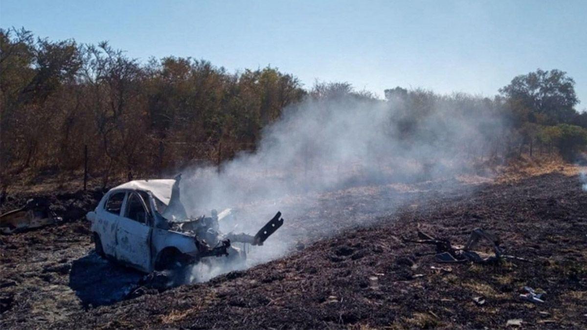 El auto de Chavero se incendió tras el choque en la ruta 9.