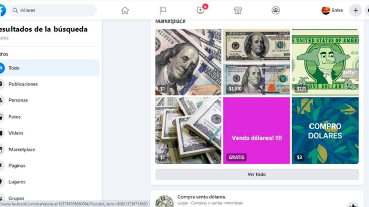 En Facebook aparecen varias opciones para poder comprar o vender dólares en Río Cuarto.