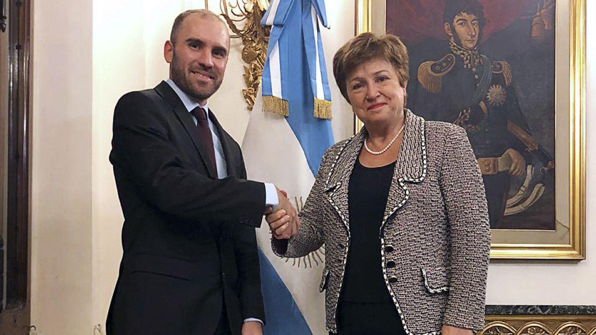 El ministro Guzmán y la titular del FMI