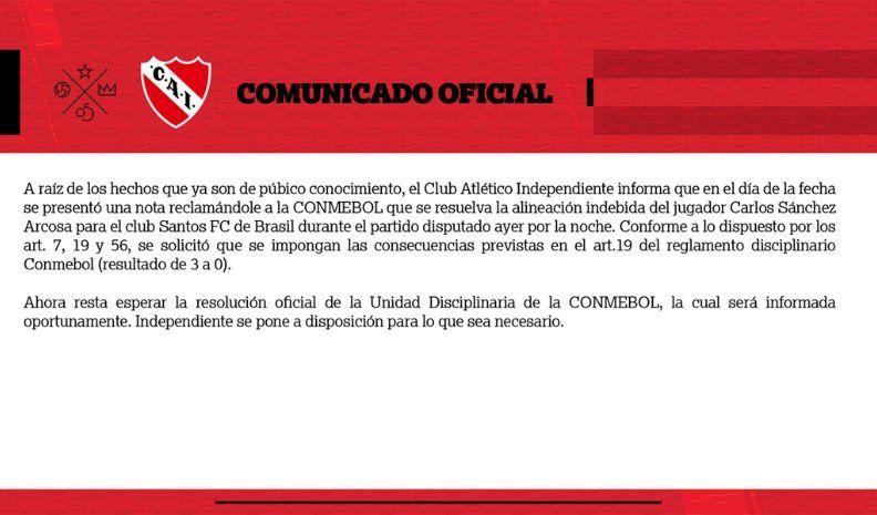 Independiente presentó el descargo en la Conmebol