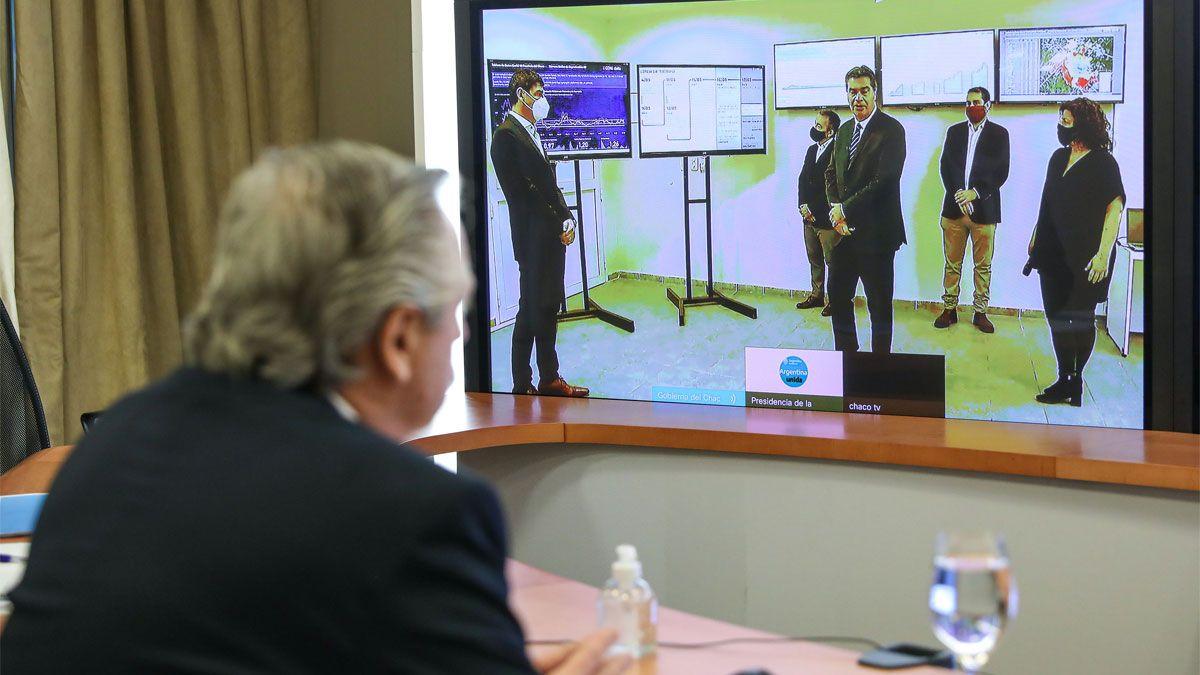 El presidente Alberto Fernández encabezó este mediodía una videoconferencia con el gobernador de Chaco