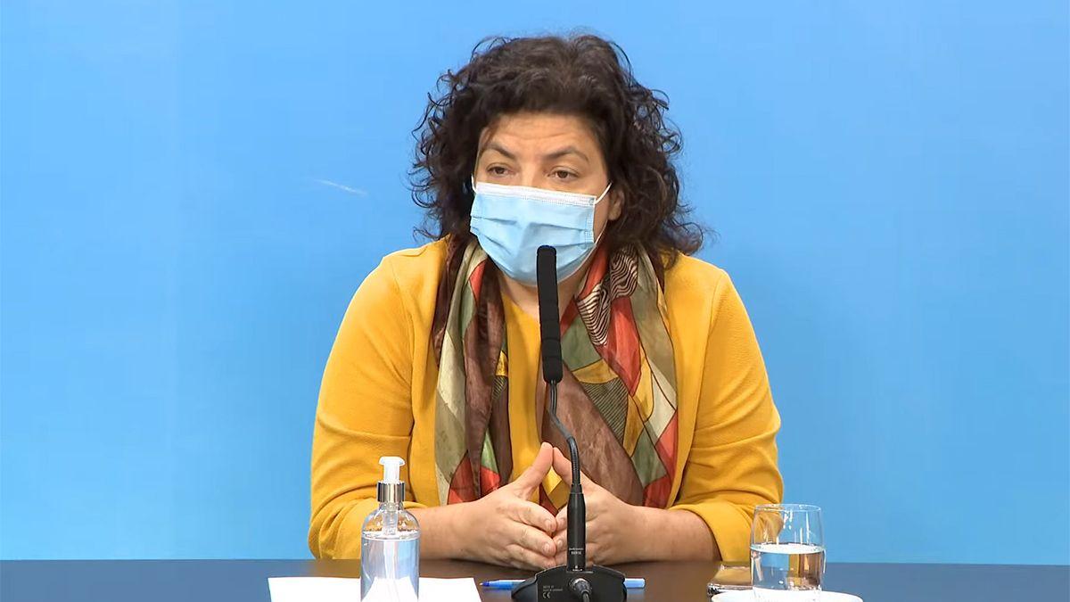 La ministra Carla Vizzotti brindó una conferencia de prensa