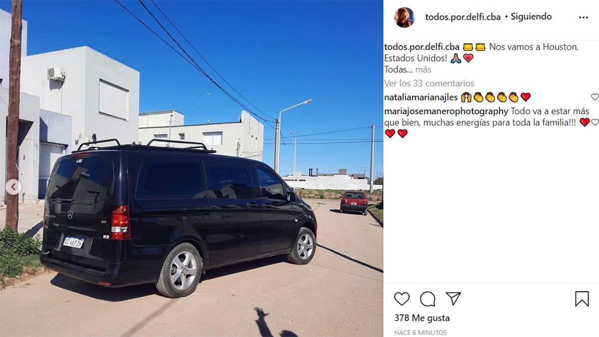 Delfi viaja hacia Houston para realizar su tratamiento