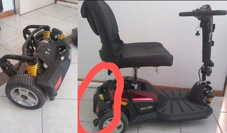 Extravió una parte del Scooter eléctrico que usa su hija con dificultad motriz