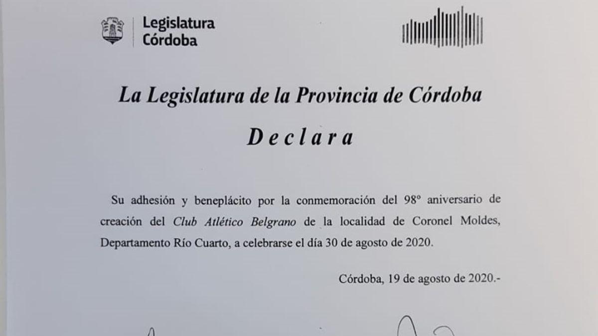 La Legislatura provincial se sumó al festejo de Belgrano de Moldes