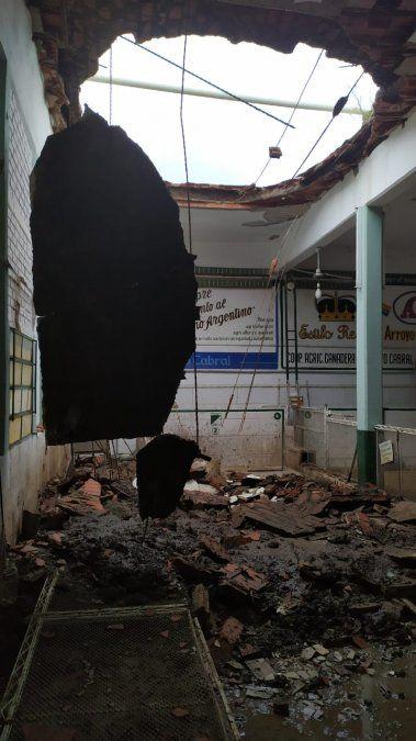 Arroyo Cabral: la tormenta destrozó  las canchas de bochas de Rivadavia