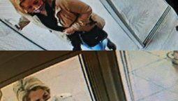 Las cámaras del local de ropa lograron capturar el ingreso de las mecheras y el momento exacto en el que se llevan un teléfono celular del mostrador.