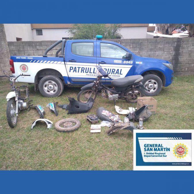 Pasco: hallaron partes de motos robadas