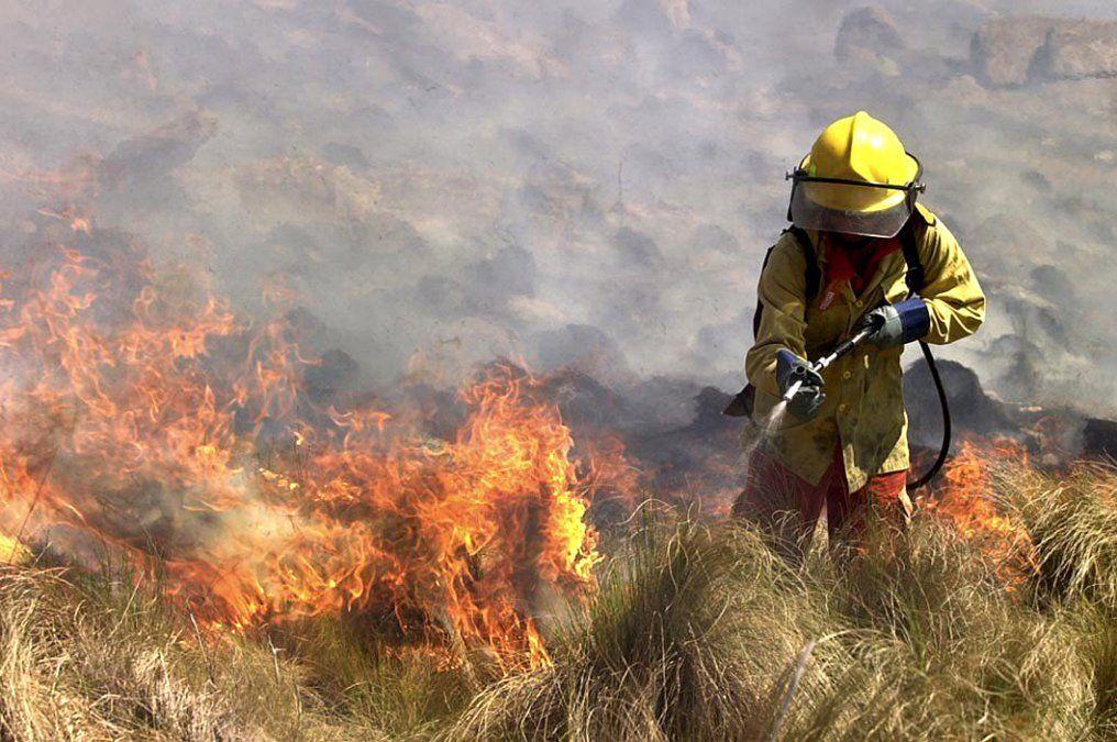 Más de 200 bomberos de distintas partes de la provincia trabajaban ayer en las sierras del sur