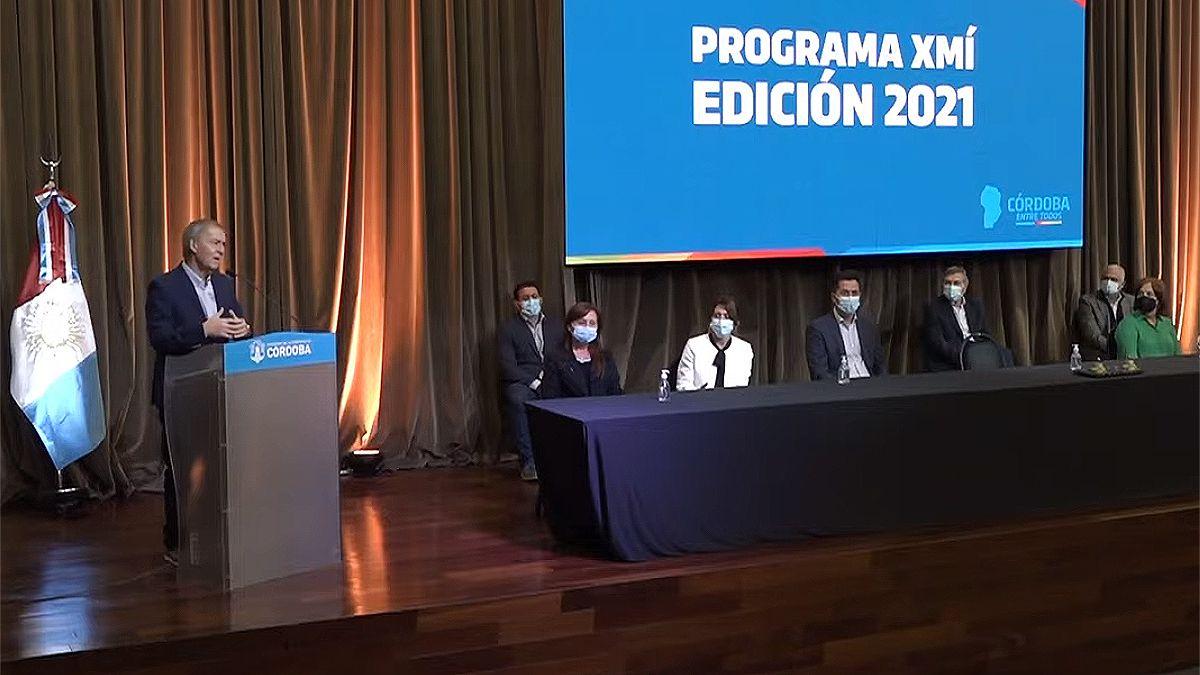 El gobernador de Córdoba presentó la cuarta edición del Programa XMÍ.