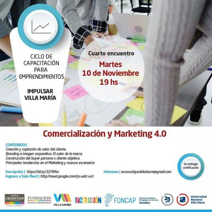 Este martes, capacitarán en Comercialización y Marketing