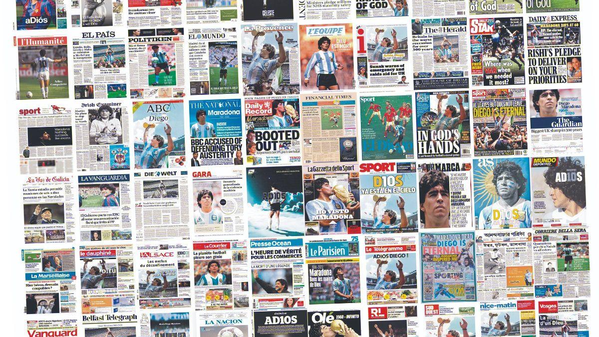 Las tapas de los principales diarios del mundo con Maradona como centro