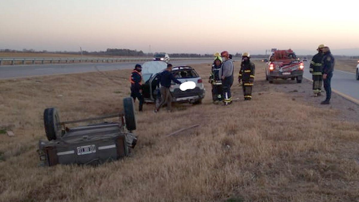 El vuelco ocurrió en la autovía Río Cuarto-Córdoba.