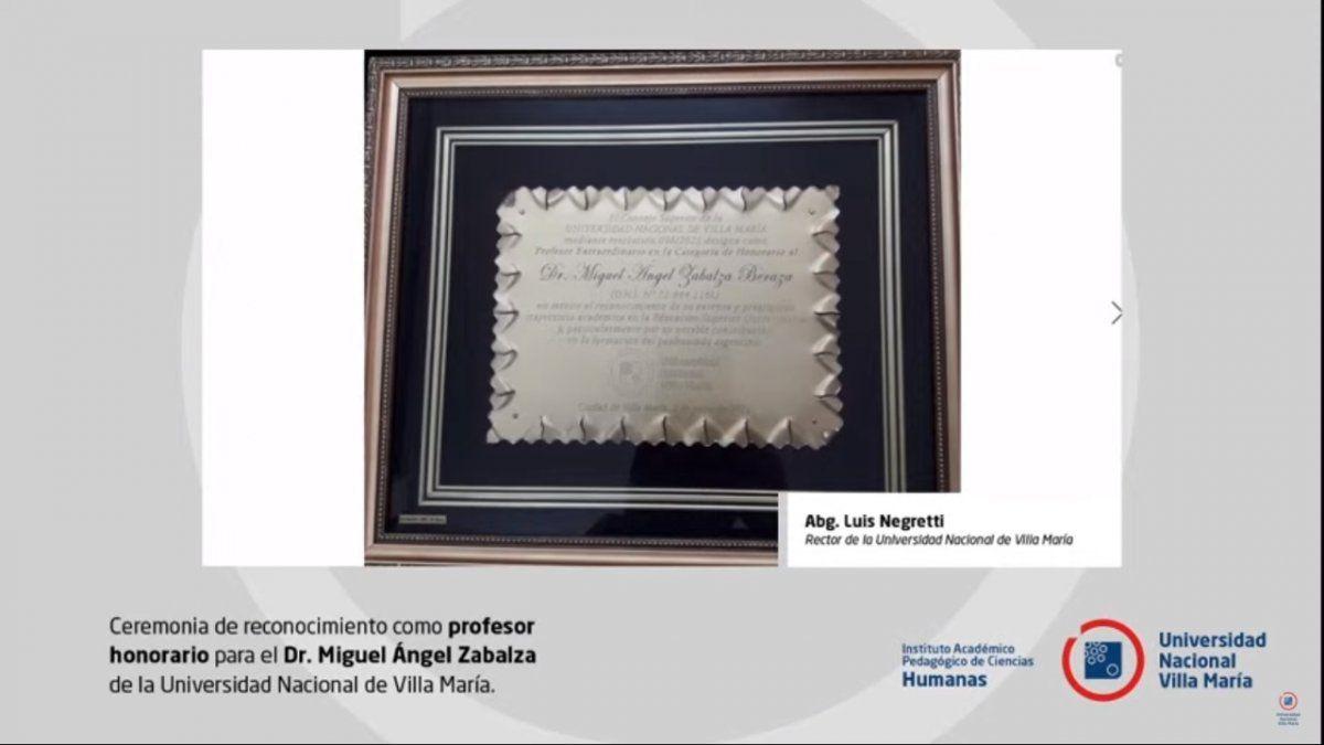 UNVM: Miguel Ángel Zabalza fue reconocido como Profesor Honorario